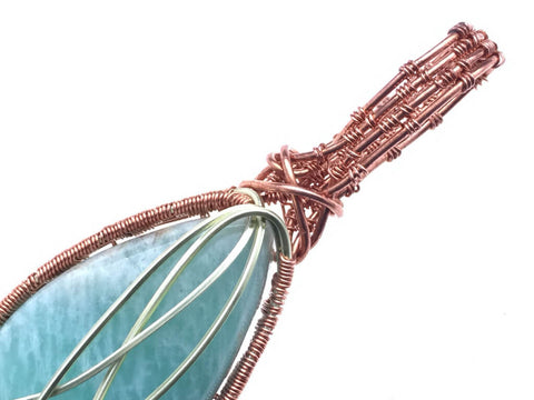 Green Amazonite Pendant in Copper - angled zoom
