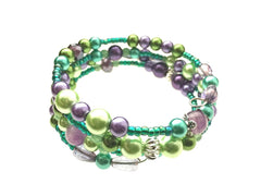 Green Aventurine, Amethyst, and Glass Beads on Memory Wire - angled