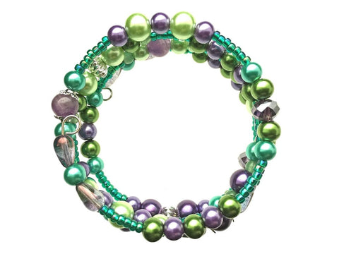 Green Aventurine, Amethyst, and Glass Beads on Memory Wire
