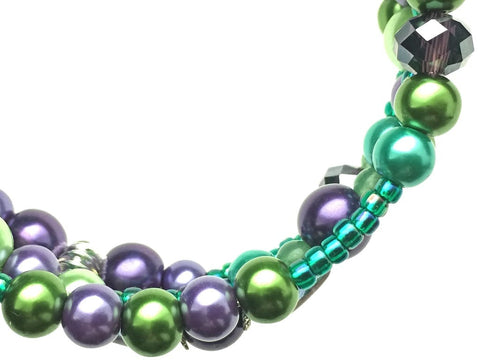 Green Aventurine, Amethyst, and Glass Beads on Memory Wire - zoom