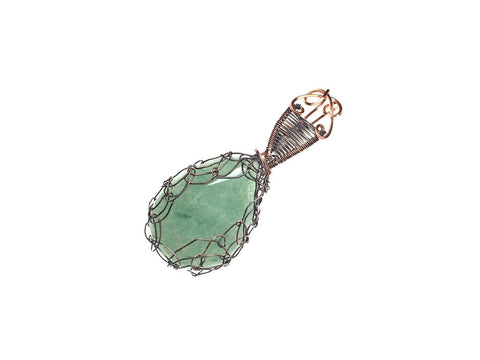 Green Aventurine Pendant in Antiqued Copper - angled