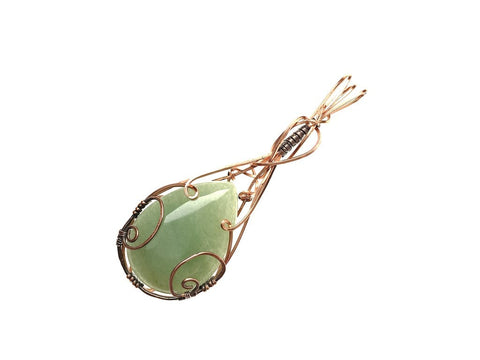 Green Aventurine Pendant in Copper and Antiqued Copper - angled