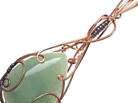 Green Aventurine Pendant in Copper and Antiqued Copper - angled zoom
