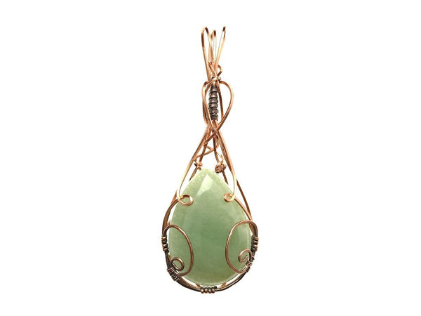 Green Aventurine Pendant in Copper and Antiqued Copper