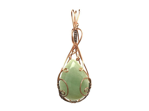 Green Aventurine Pendant in Copper and Antiqued Copper - straight