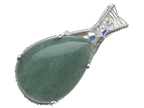 Green Aventurine with Swarovski Crystals Pendant in Sterling Silver - angled zoom