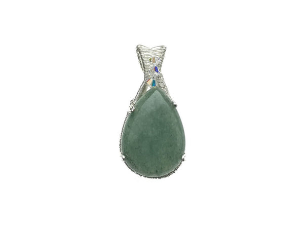 Green Aventurine with Swarovski Crystals Pendant in Sterling Silver