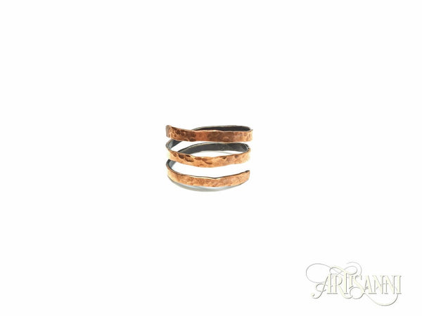 Hammered Copper Spiral Ring