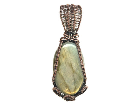 Fire Flash Labradorite Pendant in Antiqued Copper - straight