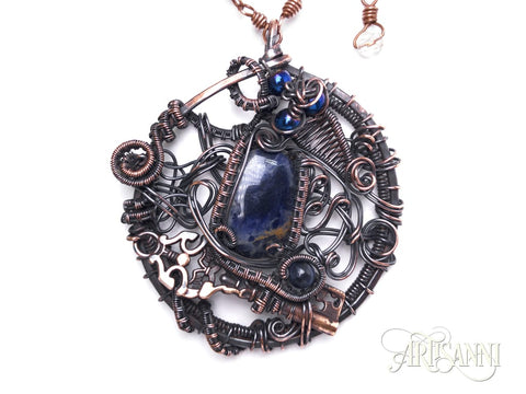 Layered pendant with Key, Sodalite and Hematite in Copper