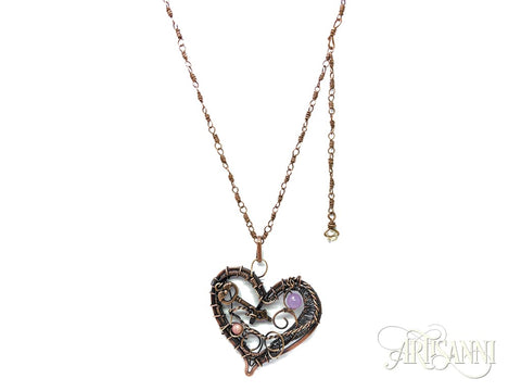 Layered Heart Necklace in Antiqued Copper 1