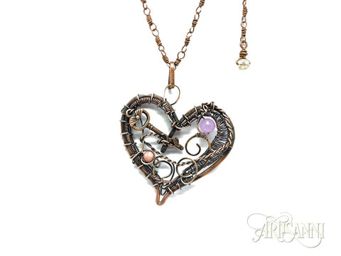 Layered Heart Necklace in Antiqued Copper 2