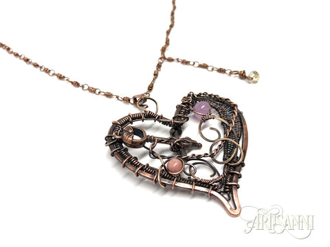 Layered Heart Necklace in Antiqued Copper 3
