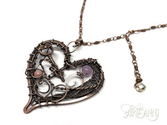 Layered Heart Necklace in Antiqued Copper 4