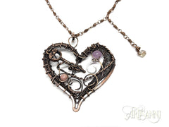 Layered Heart Necklace in Antiqued Copper 5