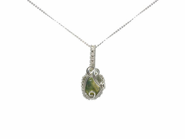 Moss Agate Pendant in Sterling Silver