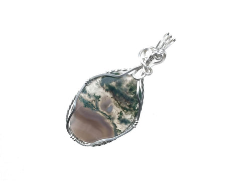 Moss Opal Agate Pendant in Sterling Silver - angled
