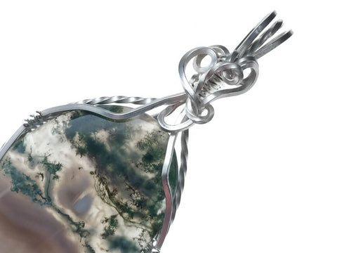 Moss Opal Agate Pendant in Sterling Silver - angled zoom