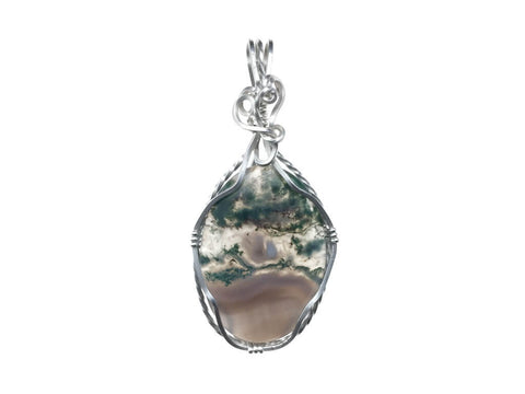 Moss Opal Agate Pendant in Sterling Silver - straight