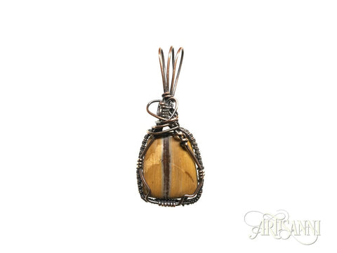 Petrified Wood Pendant Wrapped and Woven in Copper - straight