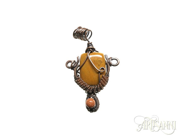 Petrified Wood and Goldstone Pendant in Copper
