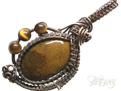 Petrified Wood and Tigers Eye Pendant in Woven Copper - angled zoom