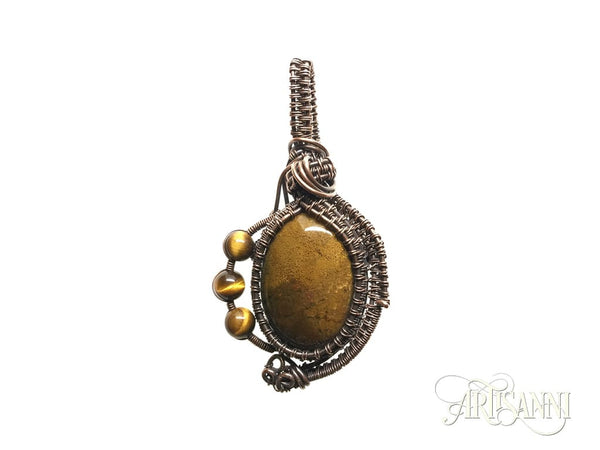 Petrified Wood and Tigers Eye Pendant Woven in Copper