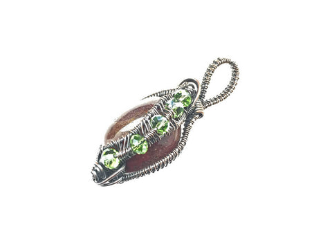 Polished Stone and Glass Beads Pendant in Antiqued Copper - side left