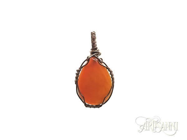 Red Agate Pendant in Antiqued Copper