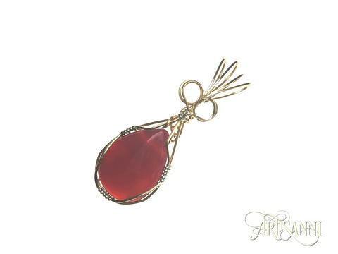 Red Agate Pendant in Gilt and Sterling Silver - angled