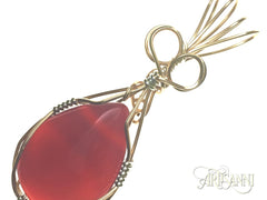 Red Agate Pendant in Gilt and Sterling Silver - angled zoom