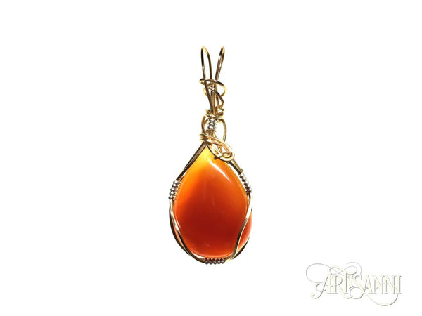 Red Agate Teardrop Pendant in Gilt and Sterling Silver