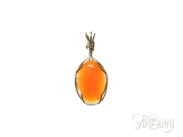 Red Agate Oval Pendant in Gilt and Sterling Silver