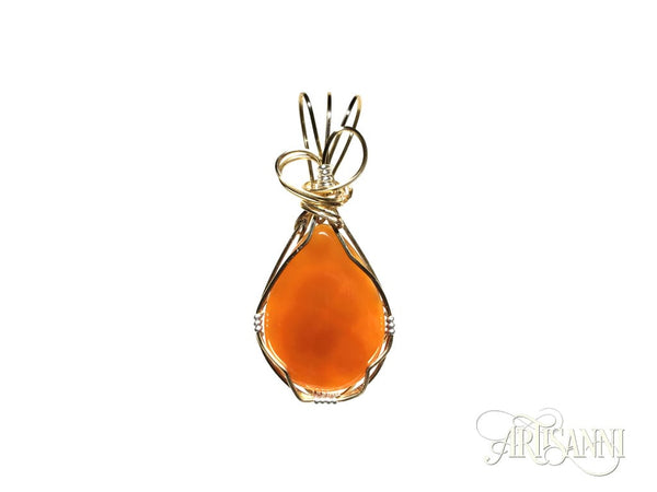 Red Agate Pendant with Heart in Gilt and Sterling Silver