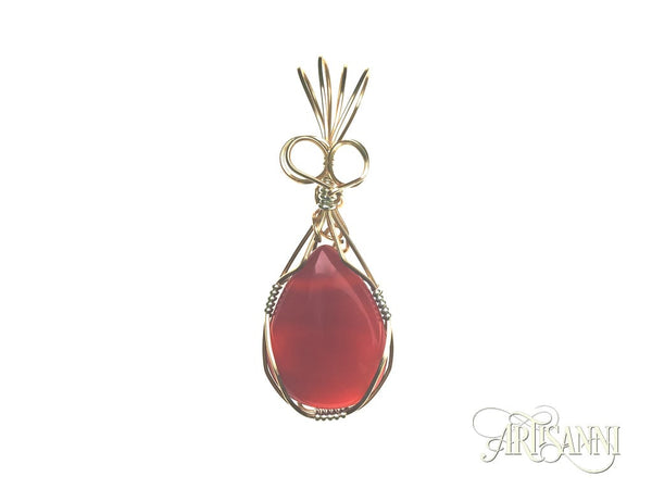 Red Agate Pendant in Gilt and Sterling Silver