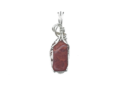 Red Jasper Pendant in Sterling Silver - straight