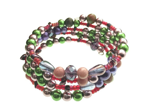 Rhodonite, Unakite, and Glass Beads on Memory Wire - angled