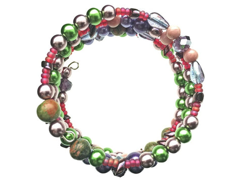 Rhodonite, Unakite, and Glass Beads on Memory Wire - overhead