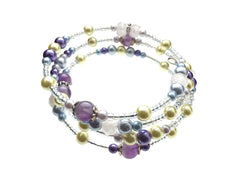 Rose Quartz, Amethyst, and Glass Beads on Memory Wire - angled