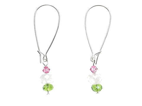 Silver Plated Pendant & Earrings Set with Rose Quartz and Swarovski Crystals - earrings