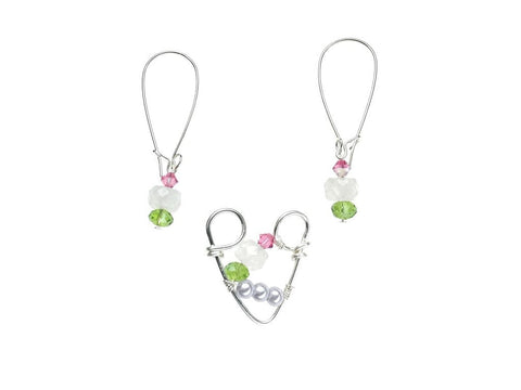 Silver Plated Pendant & Earrings Set with Rose Quartz and Swarovski Crystals