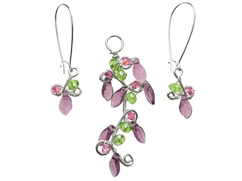 Silver Plated Pendant & Earrings Set with Swarovski Crystals