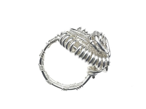 Silver Plated Twist Ring - angled zoom