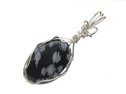 Snowflake Obsidian Pendant in Sterling Silver - angled