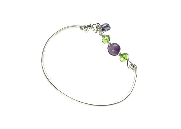 Sterling Silver Bracelet with Amethyst and Glass Beads
