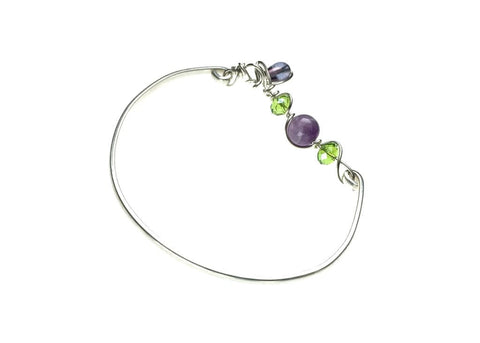 Sterling Silver Bracelet with Amethyst and Glass Beads - angled