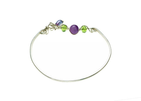 Sterling Silver Bracelet with Amethyst and Glass Beads - front