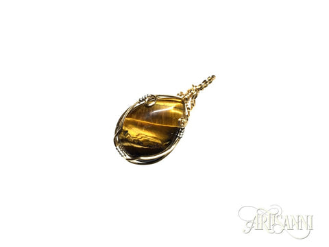 Tigers Eye Pendant in Gilt and Sterling Silver - angled