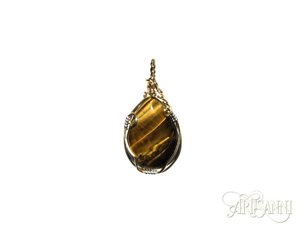 Tigers Eye Pendant in Gilt and Sterling Silver