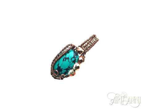 Turquoise and Glass Beads Pendant in Antiqued Copper - angled